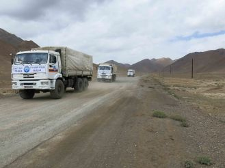 Relief effort heading into the Pamirs