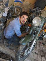 Walter rebuilding the bike