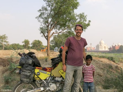 After somthing got lost in translation, the only shot of me, the bike and the Taj features this happy chap. Result