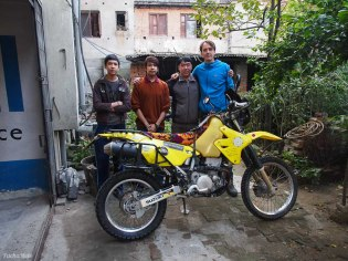 Pushpa, his sons and one very clean bike