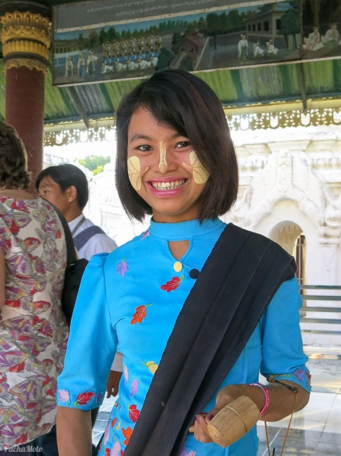 Thanaka made from tree bark is worn predominantly by Myanmar women but also the men. It's applied in many different designs and as well as being cosmetic, provides protection from the sun, is anti fungal and is believed to cure acne and give smooth skin. It was a definite highlight for me.
