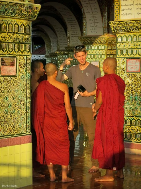 Monks visit viewpoints at sunset to practice their English with tourists